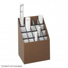 3081 Corrugated Fiberboard 20 Compartment Upright Roll File Walnut Square Tube with Plastic Molding