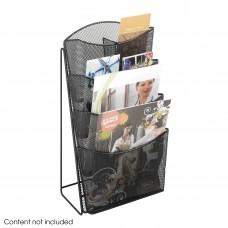 Safco Furniture  5640BL Onyx Black steel mesh removable dividers 4 Pocket counter Magazine display Rack