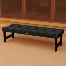 AD-BENN1-BKE Black Highwood USA Recycled Plastic 500 Lbs Capacity Lehigh Outdoor Furniture Backless Patio Bench-Made in USA