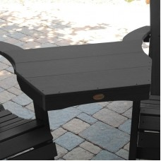 AD-CONT1-BKE Black Highwood USA Recycled Plastic Adirondack Outdoor Furniture Tete-a-Tete Connecting Table-Made in USA