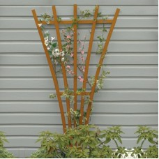 AD-TREL1-TFE Toffee Recycled Plastic Lawn & Garden Outdoor Traditional Furniture Hartford Fan Trellis Stand-Made in USA