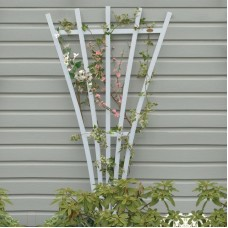 AD-TREL1-WHE White Recycled Plastic Lawn & Garden Outdoor Traditional Furniture Hartford Fan Trellis Stand-Made in USA