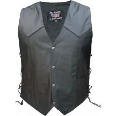 Men's 2XL Size side laces Texas Flag back Buffalo Leather 2 front 2 inside pockets Basic Vest