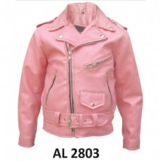 Girls 2XL Size basic motorcycle jacket in Pink Analine Cowhide Leather With Belt Buckle