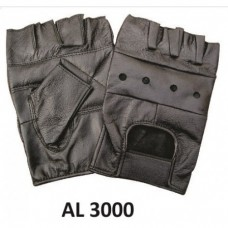 Men's Boys Fashion Large Size Motorcycle Black Leather Fingerless Gloves With Padded Palm
