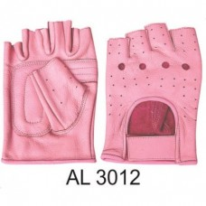 Ladies Girls Fashion Large Size Motorcycle Pink Leather Fingerless Gloves With Padded Palm