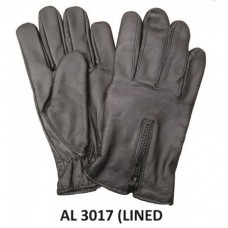 Men's Boys Fashion Medium Size Motorcycle Leather Lined Driving gloves With Zippered Back