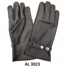 Men's Boys Fashion Large Size Motorcycle Black Full Finger Lined Gloves With Silver Snap Adjustment Strap