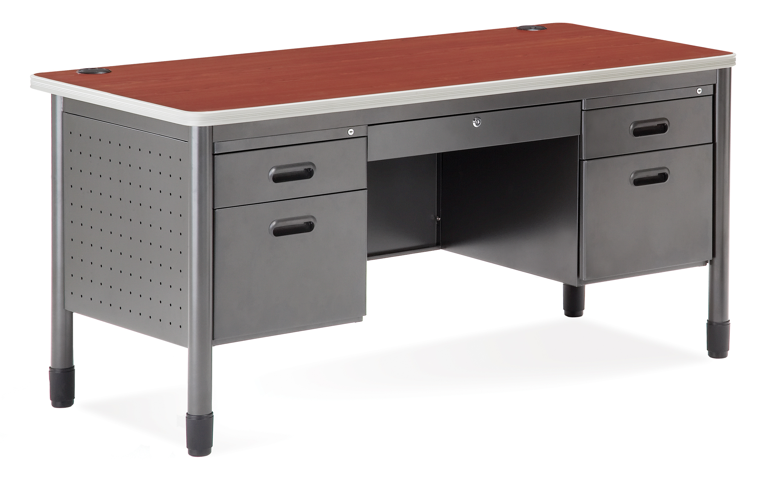 with locking double hooker drawers pedestal desk products by file kneehole furniture